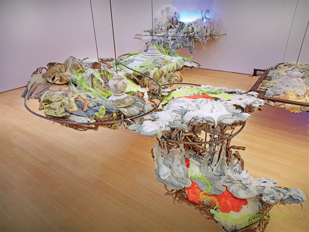 Judy Pfaff, There Is a Field, I Will Meet You There [Rumi], 2014, steel, Plexiglas, fluorescent lights, plastic, expanding foam, dimensions variable.