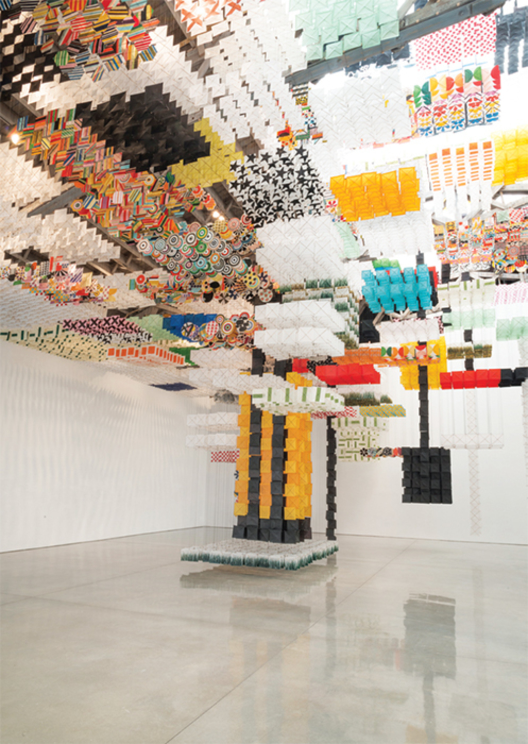 Jacob Hashimoto, Skyfarm Fortress, 2014, acrylic, paper, wood, dimensions variable.