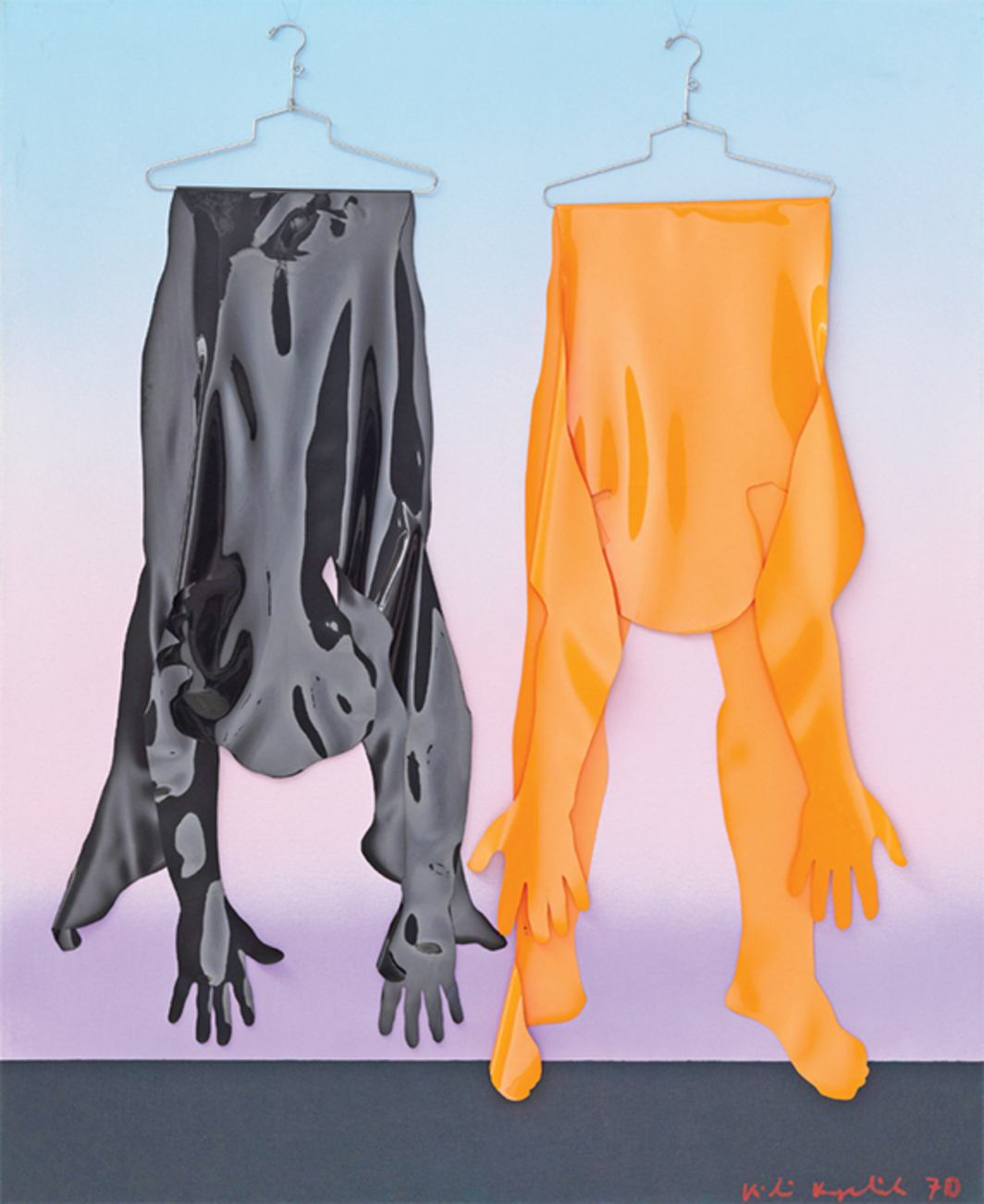 "Kiki Kogelnik, Hanging, 1970, acrylic, sheet vinyl, and hangers on canvas, 66 1/4 × 54""."