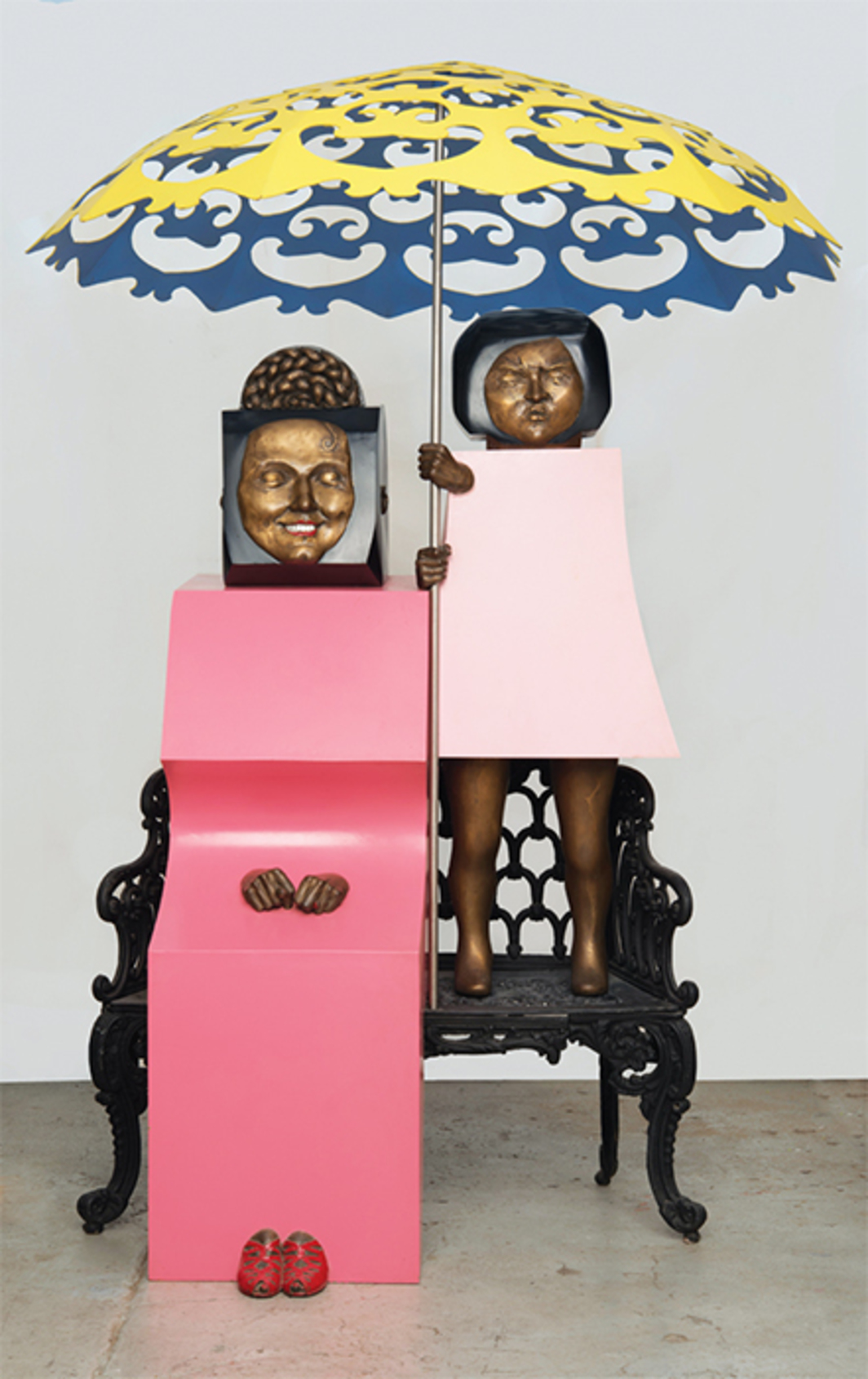 "Marisol, Mi mamá y yo (My Mother and I), 1968, steel, aluminum, 73 × 56 × 56""."