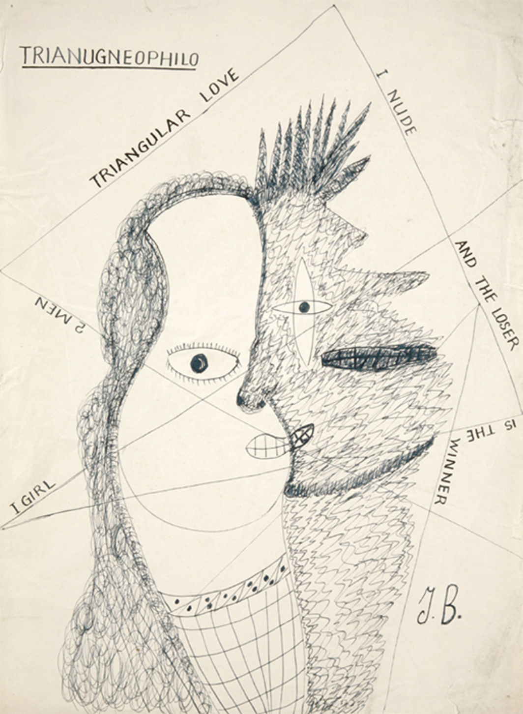 "Jack Bilbo, Trianugneophilio (Triangular Love), 1948, ink on paper, 17 1/2 × 13""."