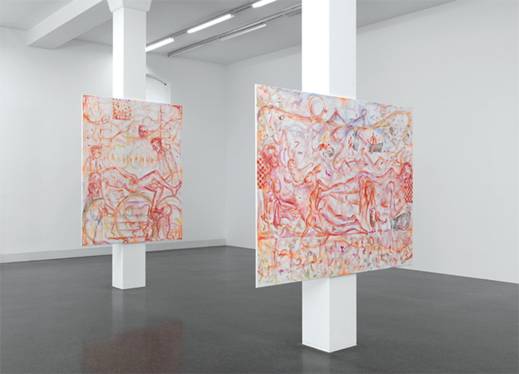 "View of ""Jutta Koether,"" 2014. From left: Fiorentino Rosso Sansepolcro, 2014; Cosimo Piero Gemäldegalerie, 2014."