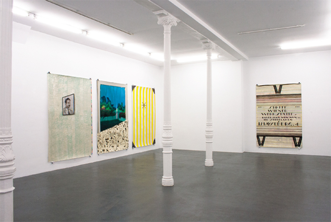 "View of ""Miki Leal,"" 2014. From left: La pared de Raymond (Raymond's Wall), 2014; Juego de lápiz (Playing with the Pencil), 2014; De como todo es posible (About How Everything Is Possible), 2014; Proyecto para una alfombra (Project for a Carpet), 2014."