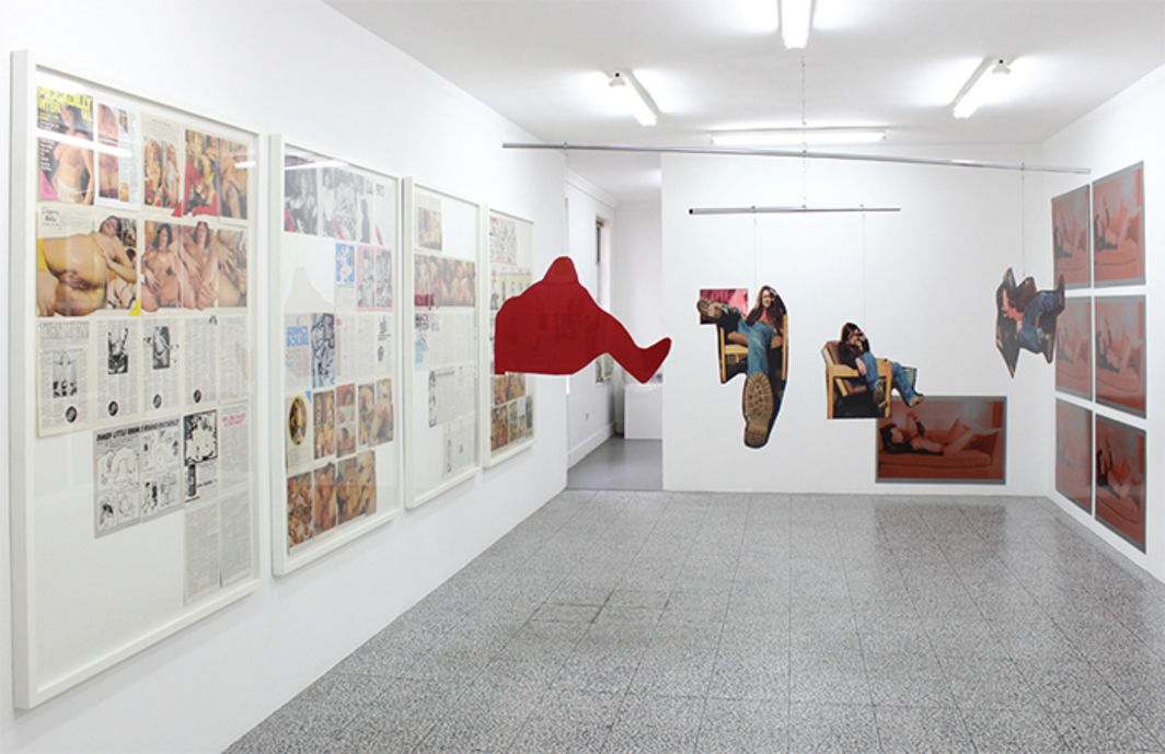 "View of ""Benglis 73/74,"" 2014. From left: Cosey Fanni Tutti, Piccadilly International Vol. 10, No. 10, 1976; Sarah Lucas, Bucket of Tea, A, 1993–2013; Lynda Benglis, Female Sensibility, 1973; Janet Burchill, The Temptation To Exist etc., 1990. Installation view, Neon Parc."