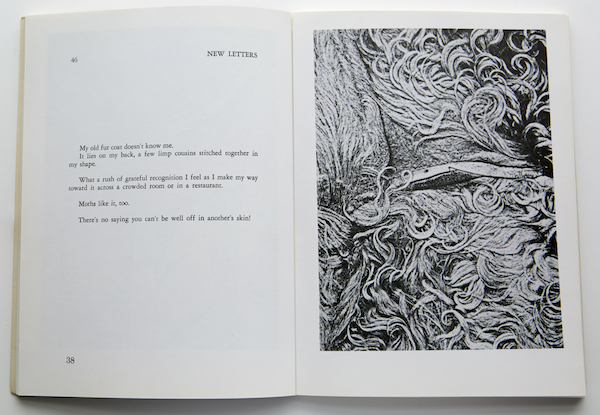 "Spread from New Letters, Volume 43, Issue 1 (1976). Pati Hill,  ""Six Photocopied Garments,"" as documented in Letters to Jill: a catalogue and some notes on copying, 1979, Kornblee."