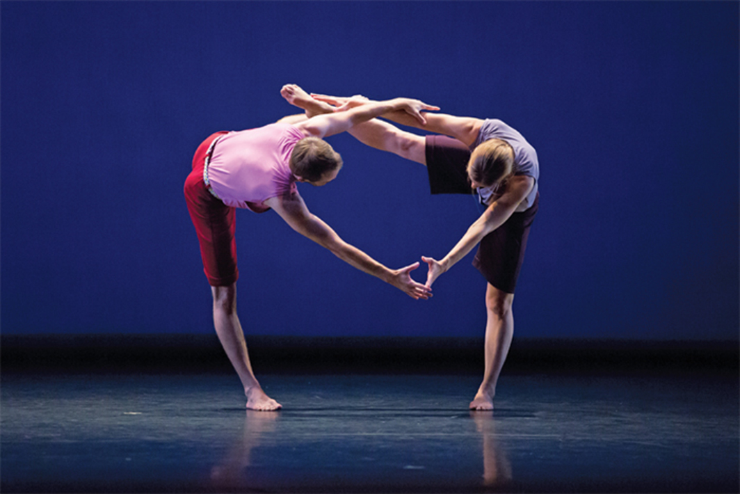 *Mark Morris, _Words_, 2014.* Performance view, dress rehearsal, New York City Center, October 7, 2014. Noah Vinson and Jenn Weddel. Photo: Ani Collier.