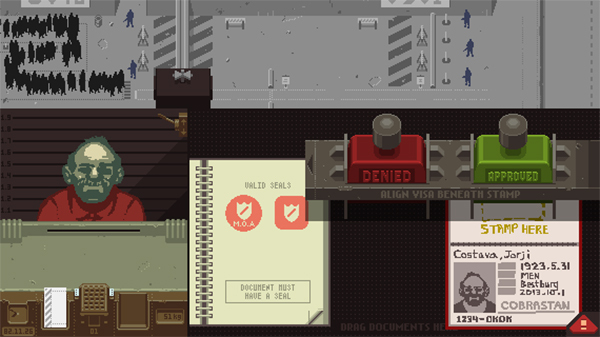 Screenshot of Lucas Pope's Papers, Please (2013–2014).