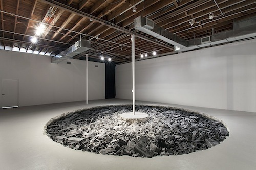 Daniel Arsham, Welcome to the Future, 2014, volcanic ash, steel, obsidian, and rose quartz, dimensions variable.