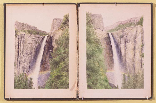 "Colter Jacobsen, Bridal Veil Falls [memory drawing], 2007, graphite on found book covers, 11 x 18""."