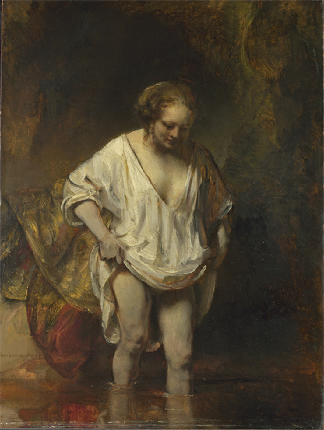 "Rembrandt, A Woman Bathing in a Stream, 1654, oil on oak board, 24 3/8 × 18 1/2"". © The National Gallery, London."