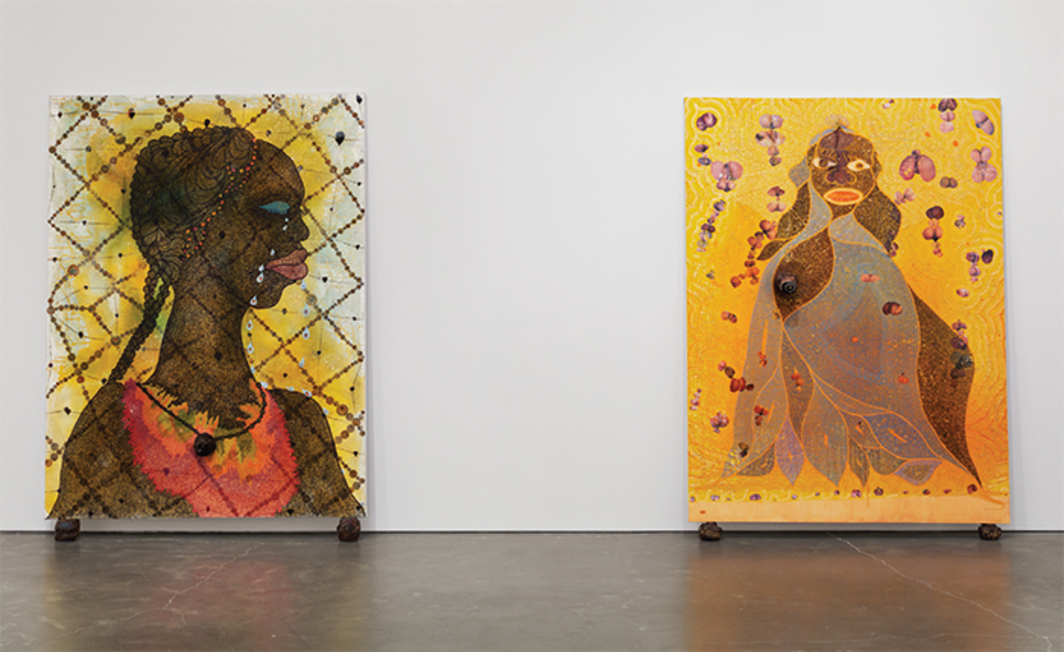 "View of ""Chris Ofili: Night and Day,"" 2014–15. From left: No Woman, No Cry, 1998; The Holy Virgin Mary, 1996. Photo: Maris Hutchinson/EPW."