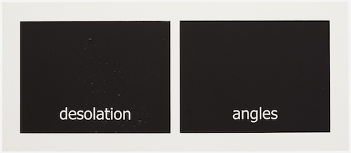 "Victoria Haven, Subtitles (#41) desolation/angles, 2014, woodblock on paper, 12 x 27""."