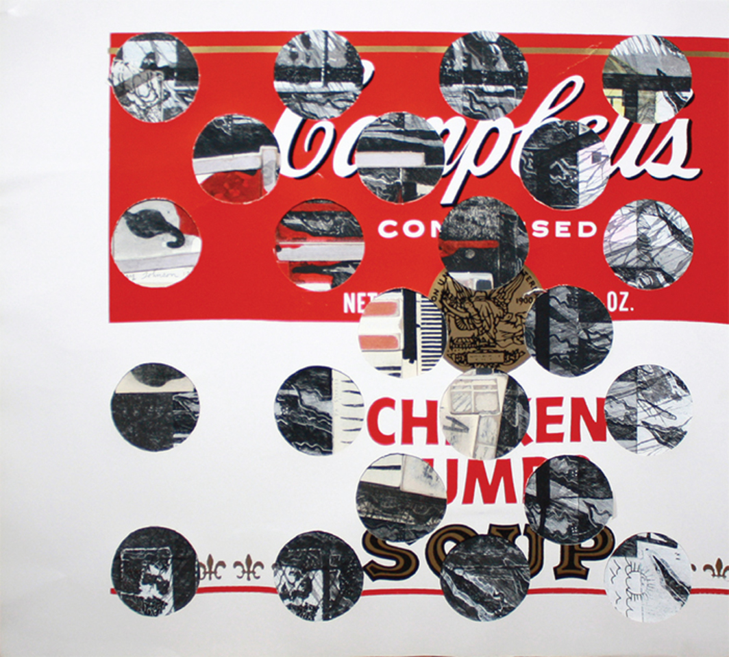 "Ray Johnson, Untitled (Campbell's Soup with Cut-Out Circles), 1973–88, collage on illustration board, 19 × 17""."