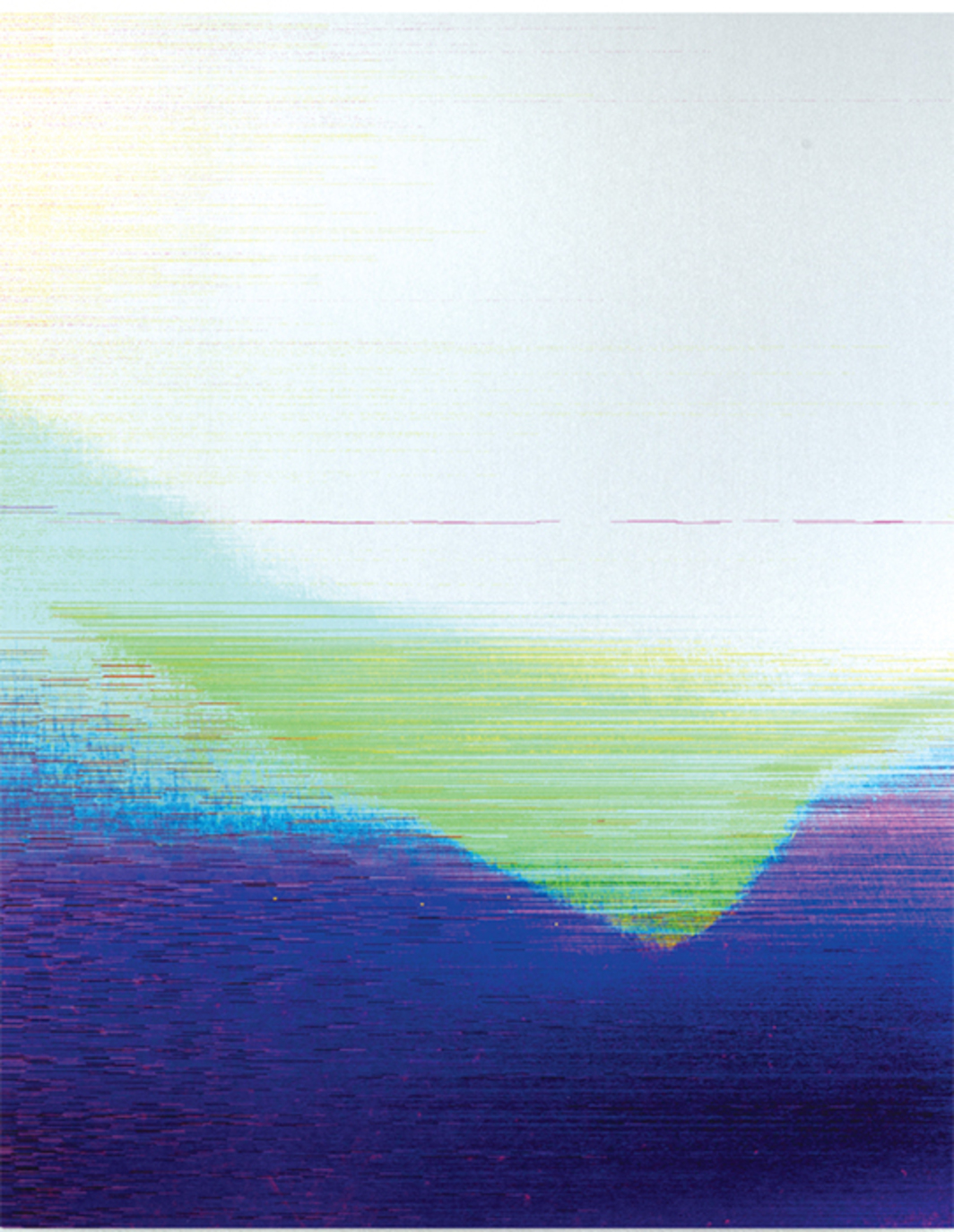 "James Hoff, Skywiper No. 7, 2014, ChromaLuxe transfer on aluminum, 30 × 24""."