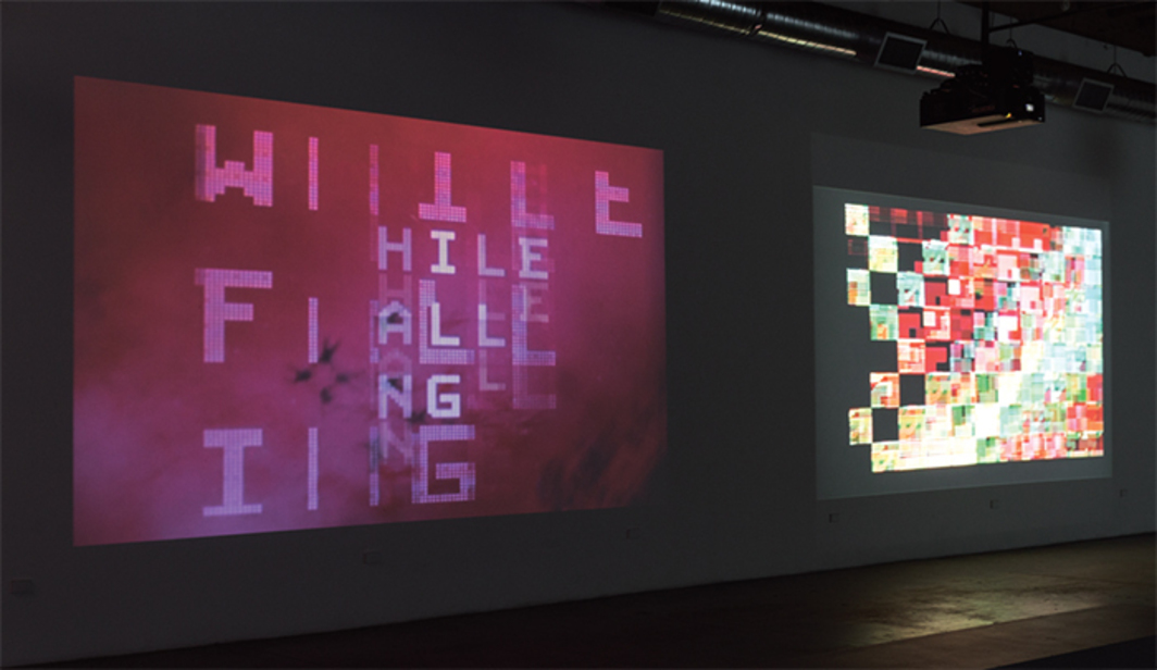 "View of ""Stan VanDerBeek,"" 2014. From left: Poemfield No. 5, 1968; Poemfield No. 3, 1967. Both from the series ""Poemfield,"" 1965–71."