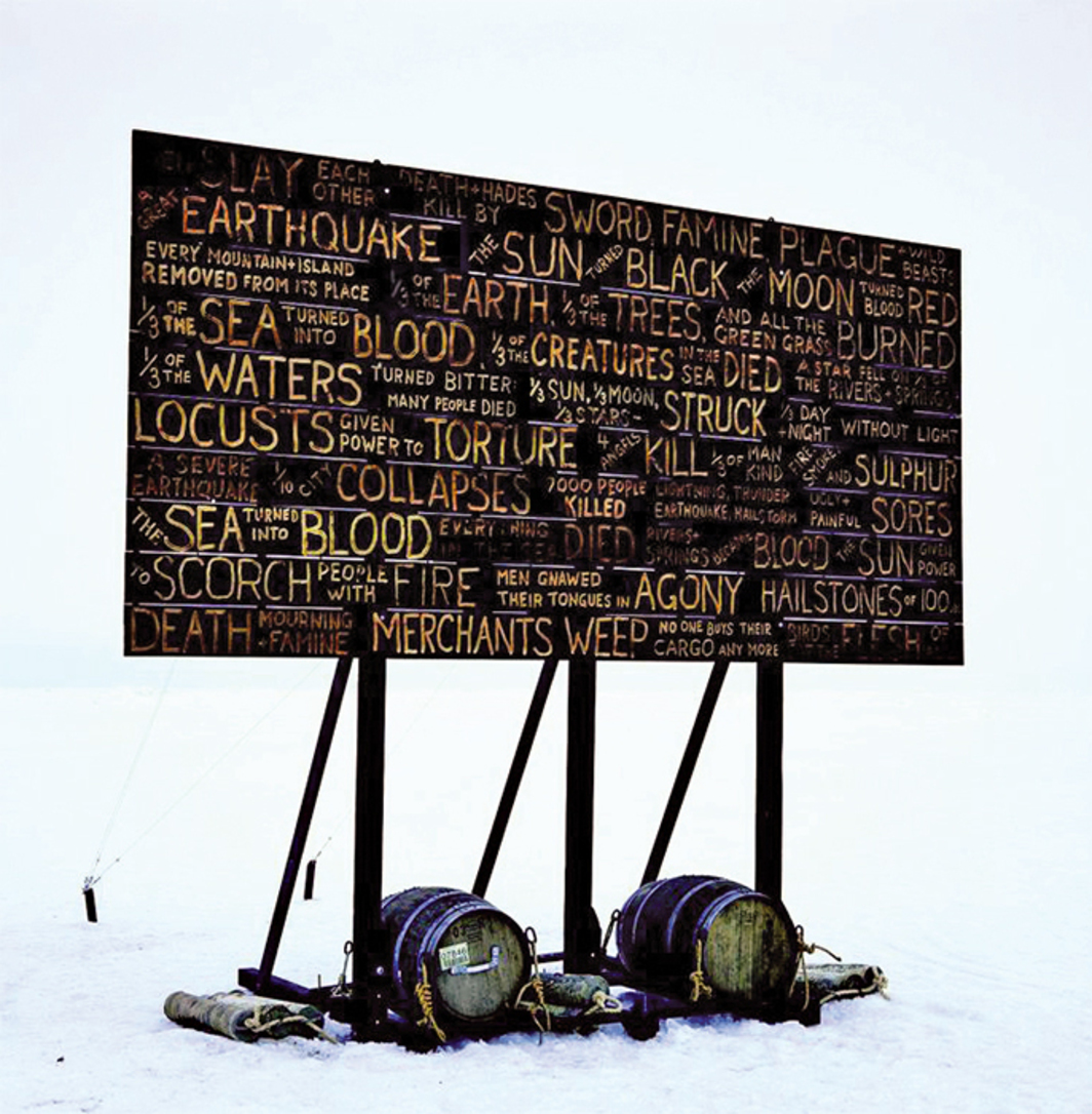 "Kevin Schmidt, A Sign in the Northwest Passage, 2010, digital C-print, 64 1/8 × 49"". From La Biennale de Montréal."