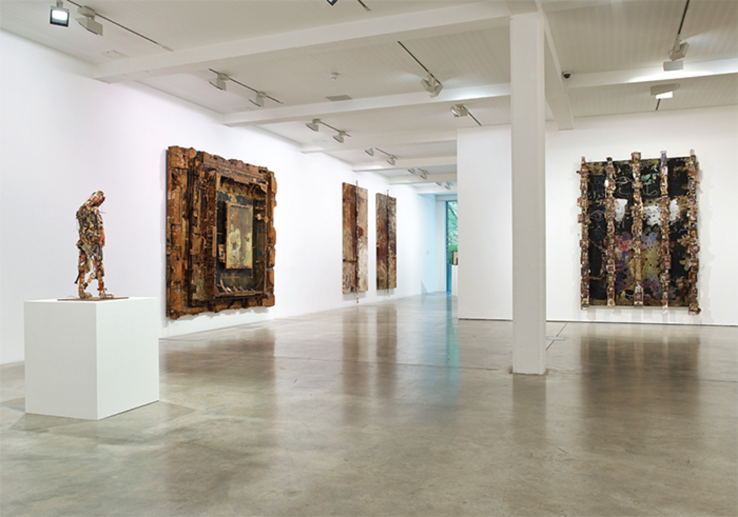 "View of ""Shinro Ohtake,"" 2014. From left: Radio Head Surfer, 1994–95; WEB, 1990–91; Retina (Left Eye), 1989–91; Retina (Right Eye), 1989–91; Retina (Wire Horizon, Tangier), 1990–93."