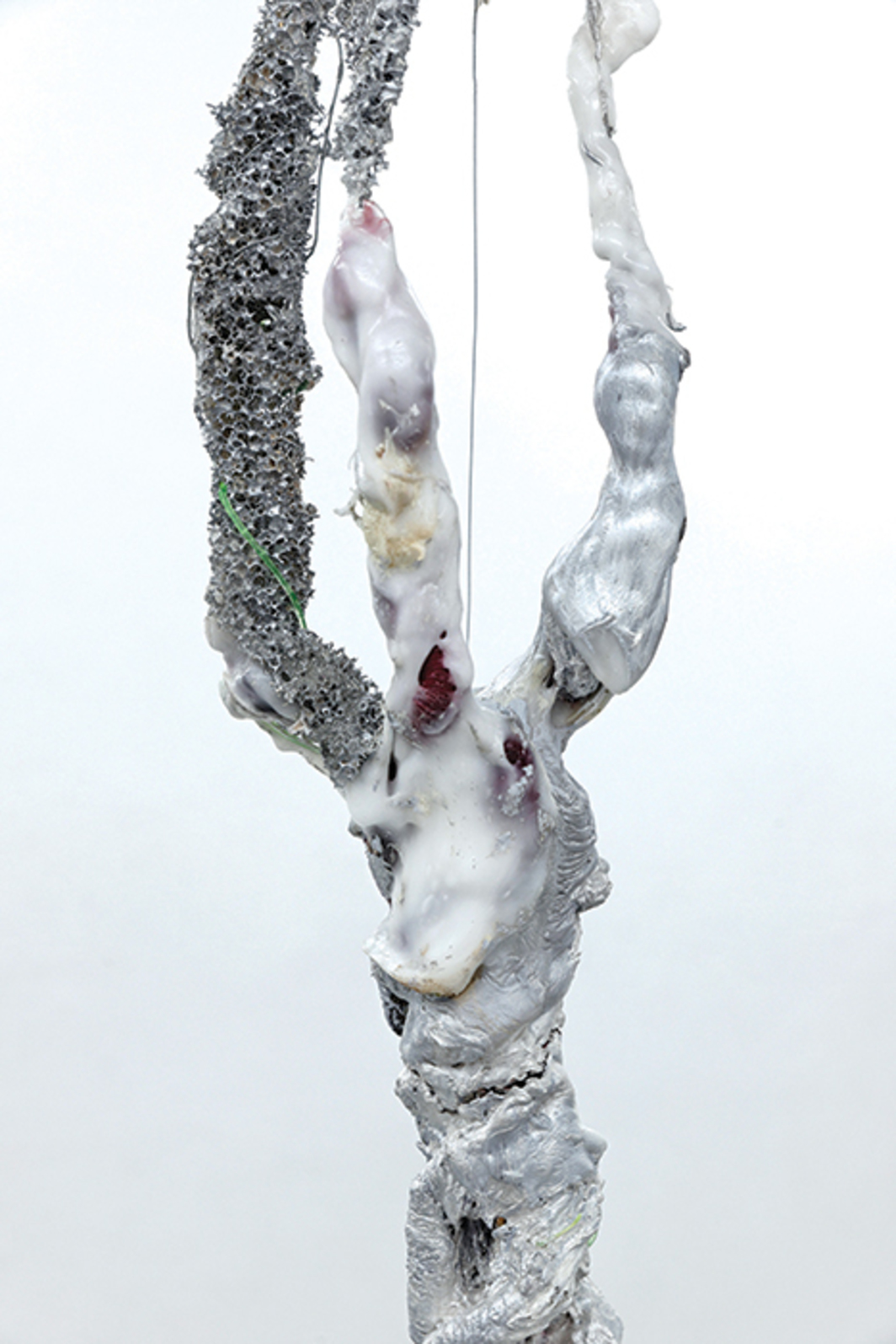 "Daiga Grantina, Quitting the House (detail), 2014, string, rope, wire, polyurethane-elastomer, polyurethane, acrylic, 92 1/2 × 6 × 6""."