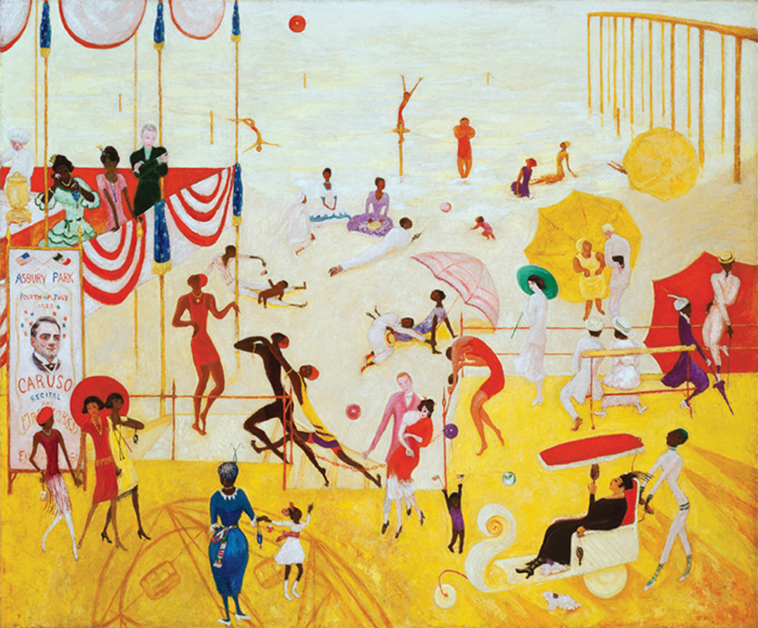 "Florine Stettheimer, Asbury Park South, 1920, oil on canvas, 50 × 60""."