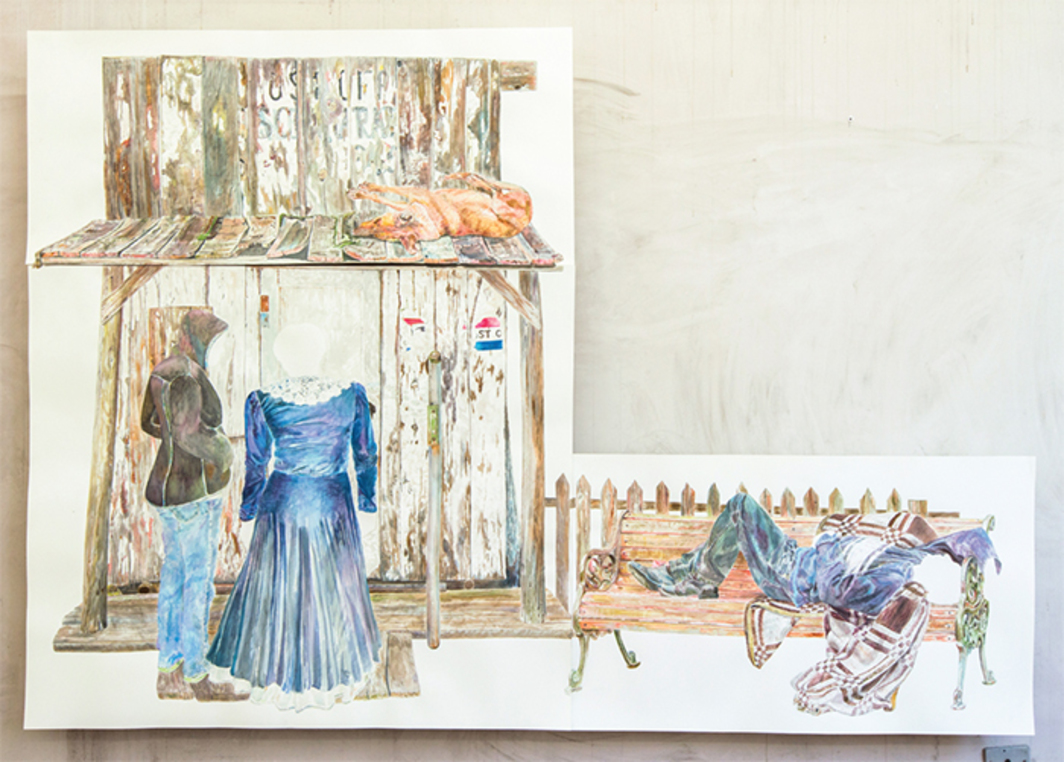 "Fernanda Chieco, O cachorro, o correio, o casal, o dorminhoco (The Dog, the Post Office, the Couple, the Sleeper), 2014, watercolor on paper, 67 5/8 × 97 7/8""."