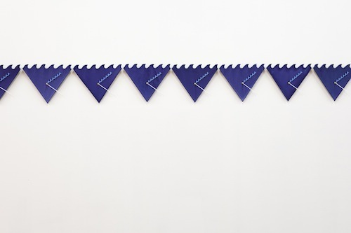 Emily Roysdon, Beyond the Will to Measure, 2014, wall-mounted ceramic, clock movements, acrylic, 56 2/3 x 10 1/2.""