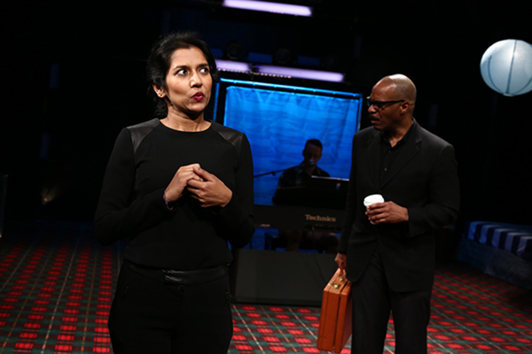 Mike Iveson, Sorry Robot, 2015. Performance view, New Ohio Theatre, New York, January 6, 2015. Tanya Selvaratnam and Anthony R. Brown. Photo: Paula Court.