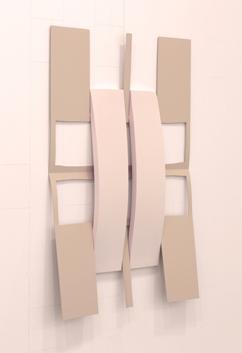 "Matt Keegan, Crossed w/ Strips (Soft Pink), 2014, spray- finished laser-cut steel, pigmented silicon, 32 1/2 x 23""."