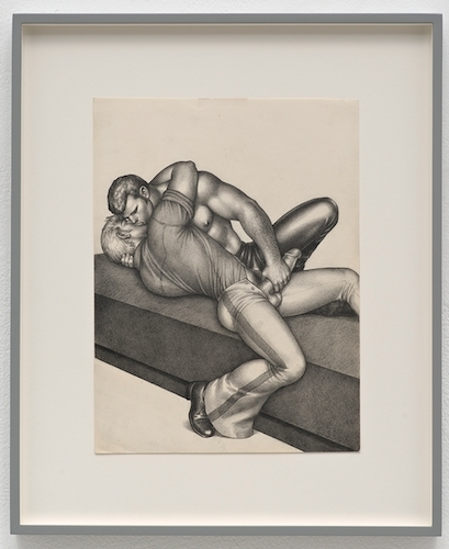 "Tom of Finland, untitled, 1972, ink, gouache, and cut-and-pasted photo on paper. From the series ""TV Repair,"" 1972."