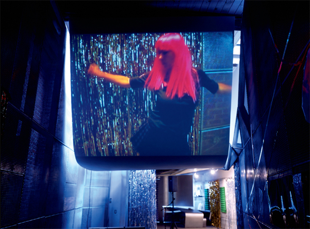 "View of Kim Gordon and Jutta Koether's ""The Club in the Shadow,"" 2003, ConTEMPorary, New York. Center: Kim Gordon, The Club in the Shadow Dancer, 2003."