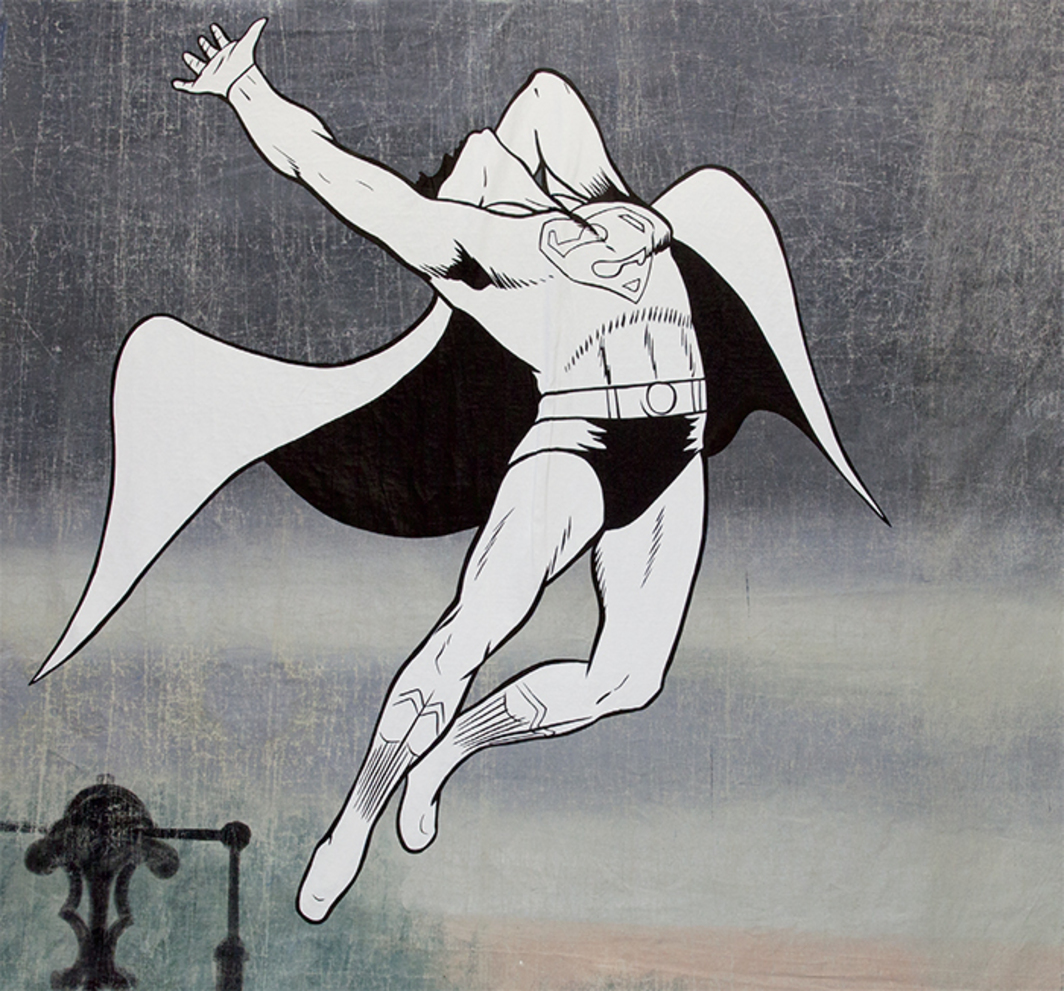 "Jim Shaw, Not Since Superman Died (detail), 2014, acrylic on muslin, eight parts, overall 22' 6"" × 50'."