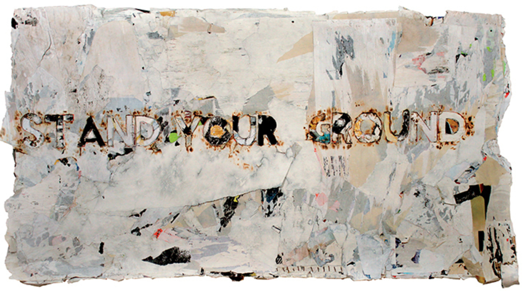 "Robert Hodge, Stand Your Ground, 2013, acrylic, oil, and gold leaf on reclaimed paper, hemp thread, 57 × 97""."
