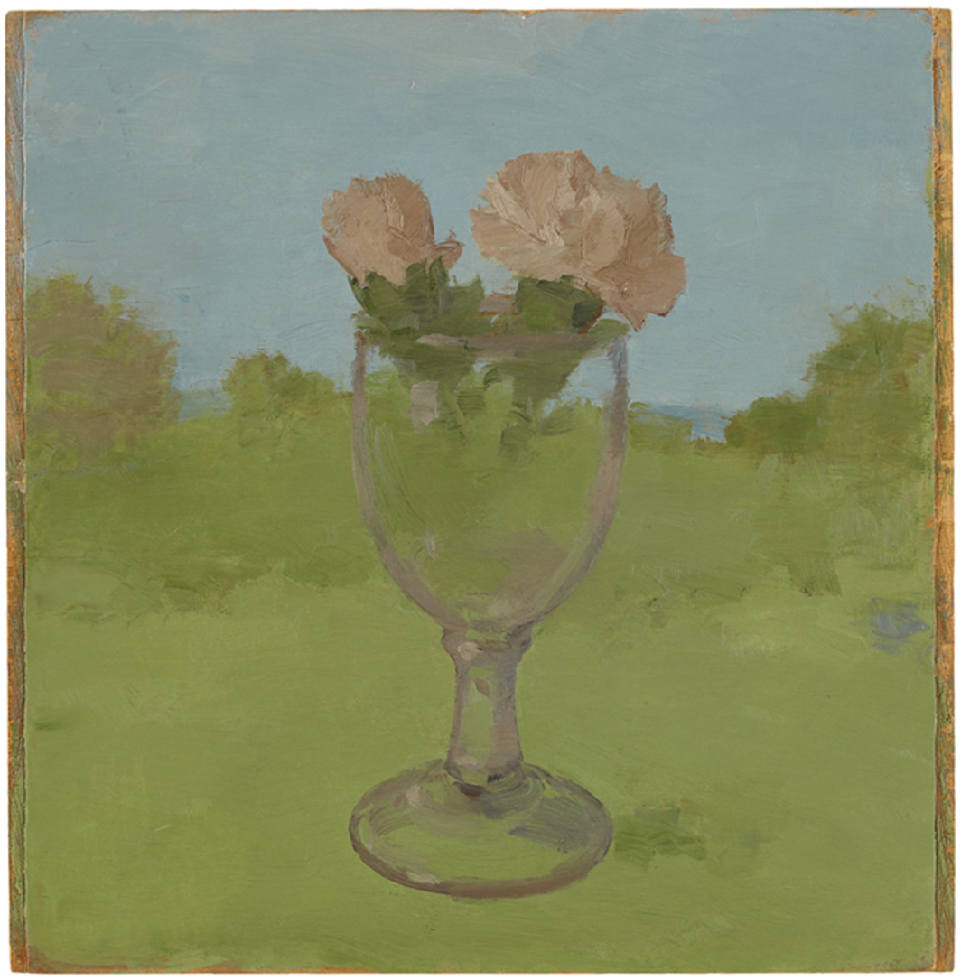 "Albert York, Landscape with Two Pink Carnations in a Glass Goblet, 1983, oil on wood, 12 7/8 × 12""."