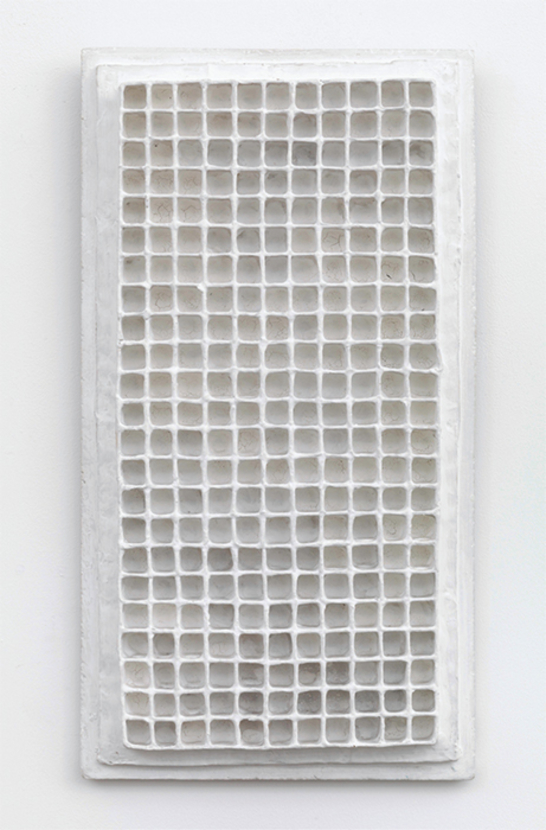 "Jan Schoonhoven, Relief, 1964, wood, cardboard, paper, emulsion paint, 20 1/4 × 10 7/8 × 1 3/4""."