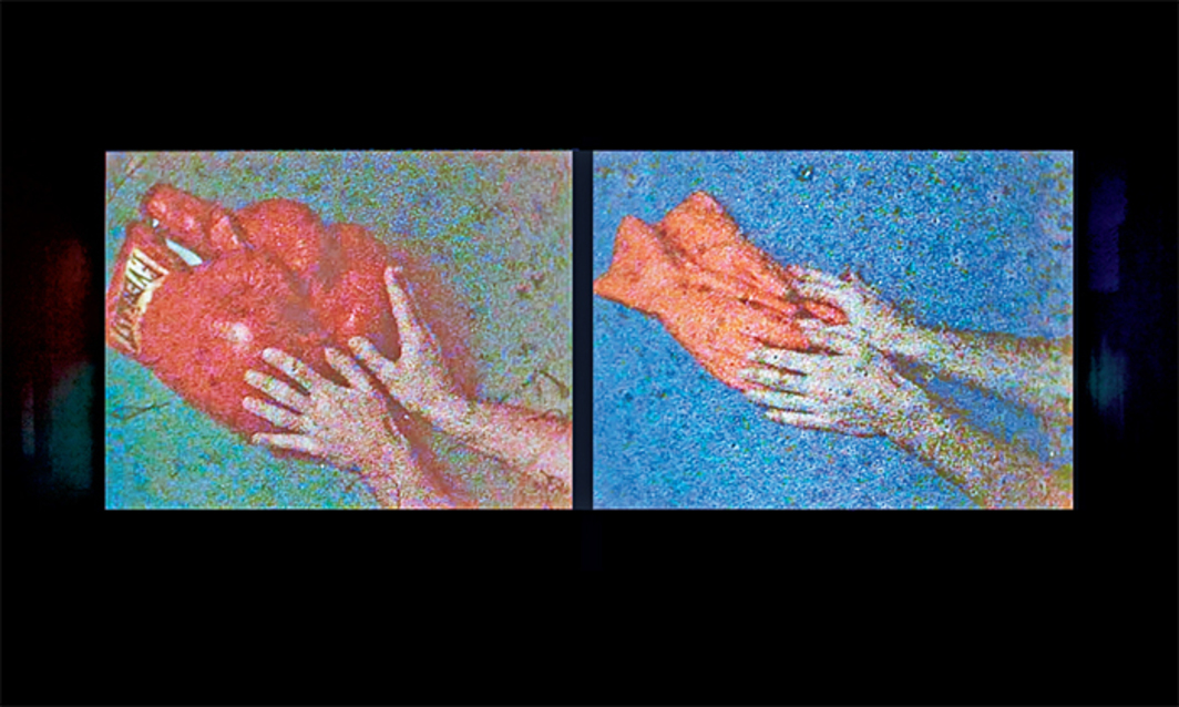 Morgan Fisher, Red Boxing Gloves/Orange Kitchen Gloves, 1980, two-channel video (Polavision cassettes transferred to DVD), color, silent, 3 minutes 20 seconds.