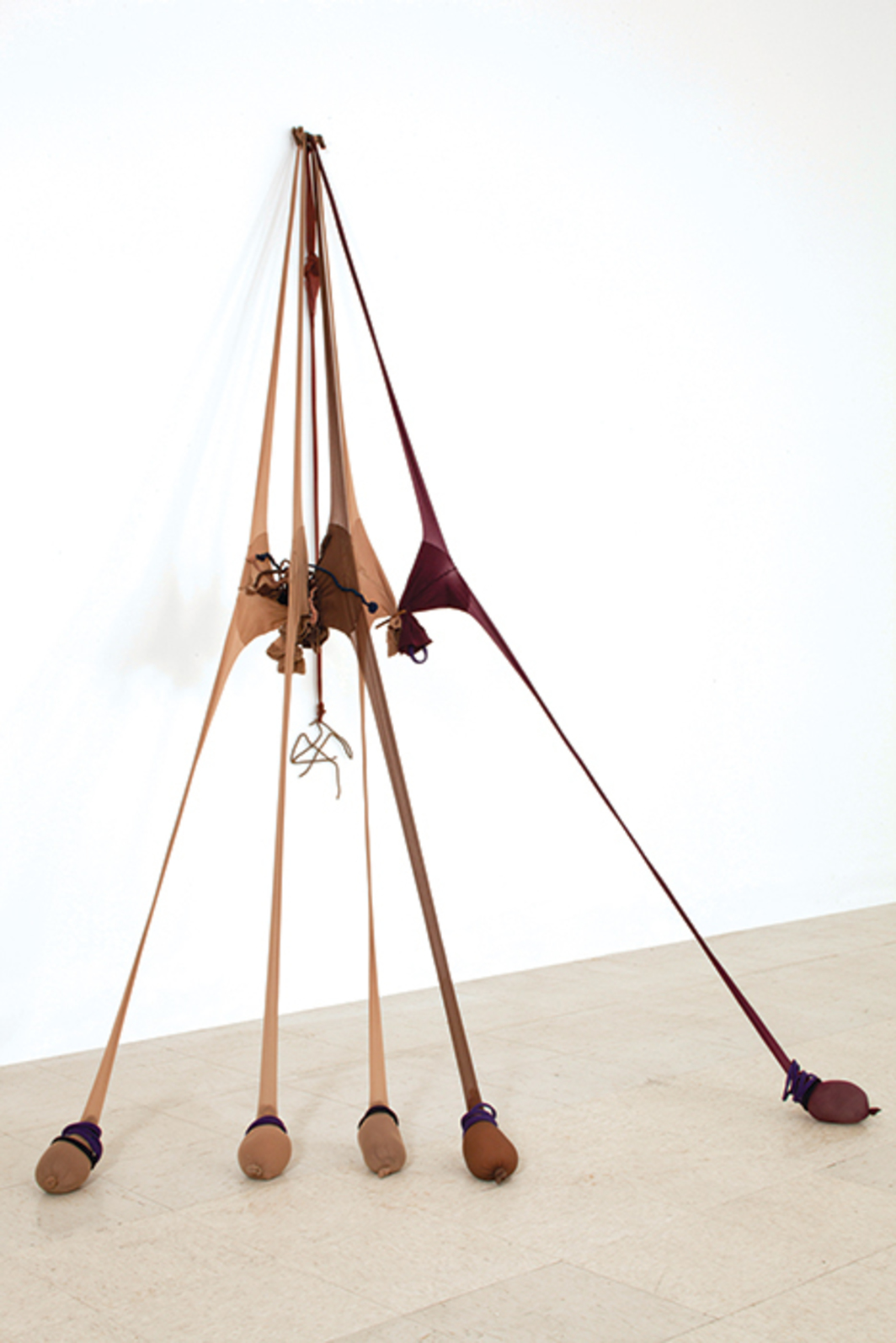 "Senga Nengudi, R.S.V.P. Reverie ""Scribe,"" 2014, nylon mesh, sand, found metals, 91 × 54 × 67"". From the series ""R.S.V.P.,"" 1976–."
