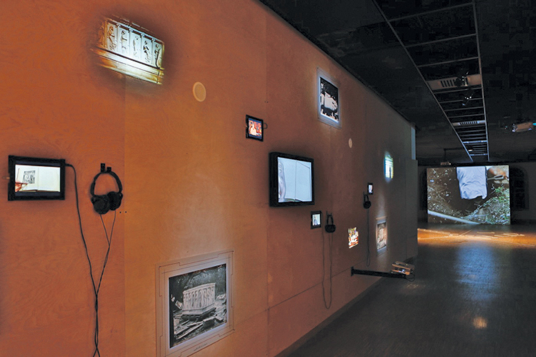 "View of ""Akram Zaatari,"" 2014–15. From left: Untitled, 2014; Time Capsule, Skeleton, 2013; Ain El-Mir 23.11.2002. Photo: Cengiz Tanc."