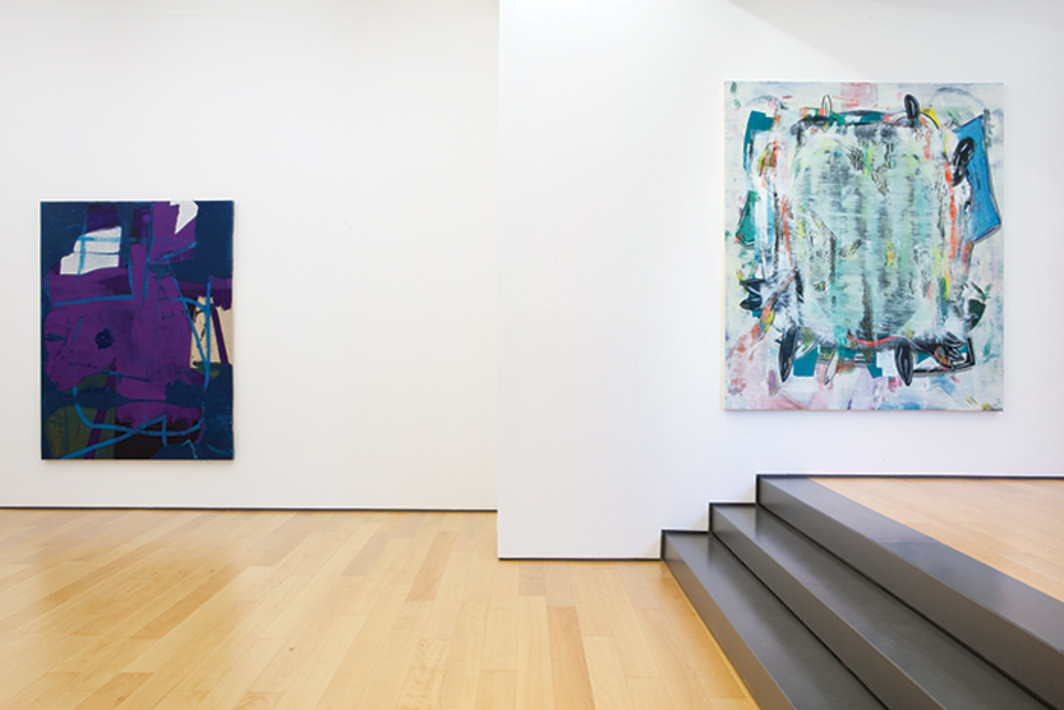 "View of ""Alex Hubbard and Jon Pestoni,"" 2014. Left: Alex Hubbard, Untitled, 2014. Right: Jon Pestoni, Split Beaver, 2014."