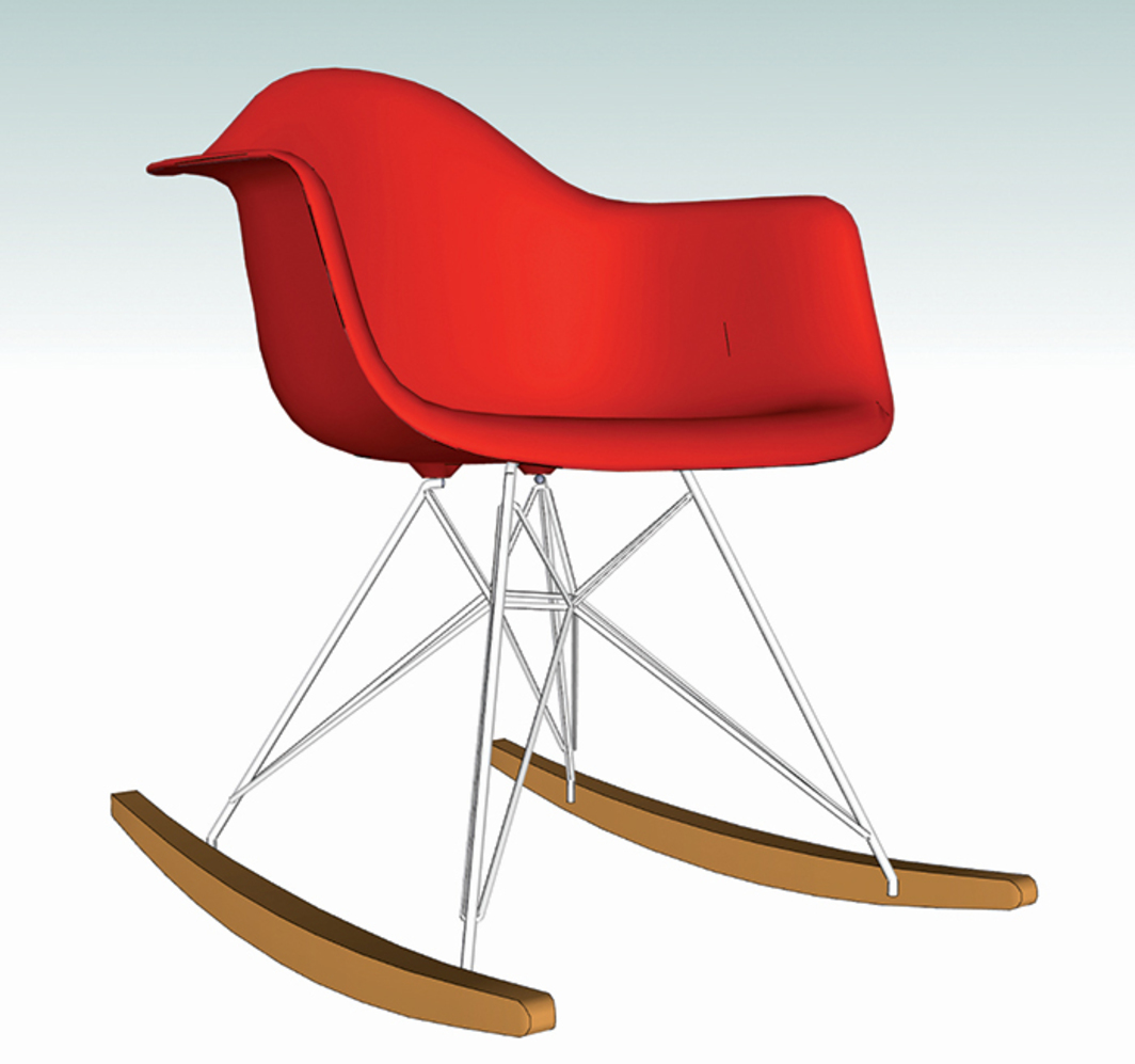 *Rendering of Charles and Ray Eames's molded plastic chair with rocker base, 3D Warehouse website, 2014.*