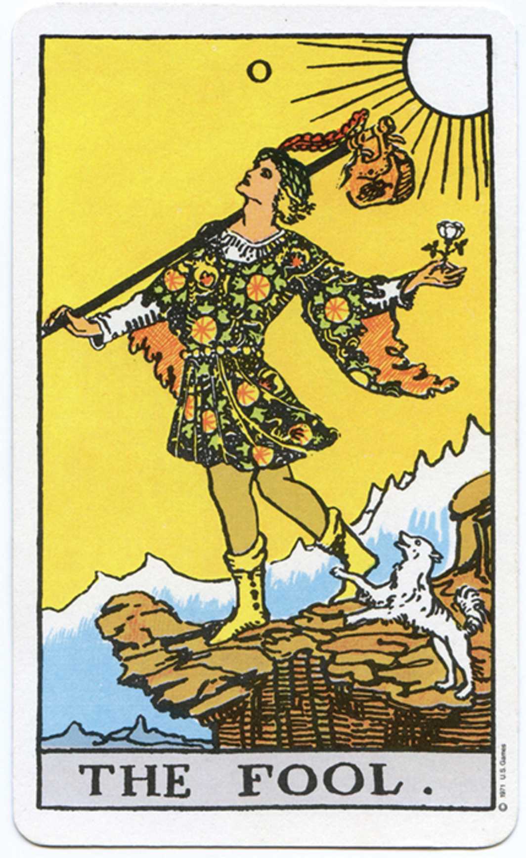 "*""The Fool"" card from the Rider-Waite tarot deck, illustrated by Pamela Colman Smith, 1910.*"