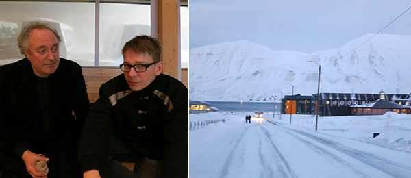 Left: Artist Olav Christopher Jenssen and Jan Martin Berg, director of Galleri Svalbard. Right: The Svalbard museum and university complex. (Except where noted, all photos: Cathryn Drake)