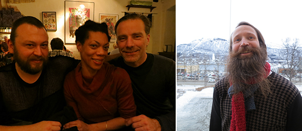 Left: Geir Haraldseth, director of Rogaland Art Center, and artists Camille Norment and Knut Åsdam. Right: Leif Magne Tangen, director of Tromsø Kunstforening.