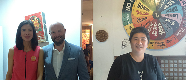 "Left: Art Fair Philippines cofounder Trickie C. Lopa and Bonhams deputy chairman Magnus Renfrew. Right: Artist Christina ""Ling"" Quisumbing Ramilo in her studio. (All photos: Cristina Sanchez-Kozyreva)"