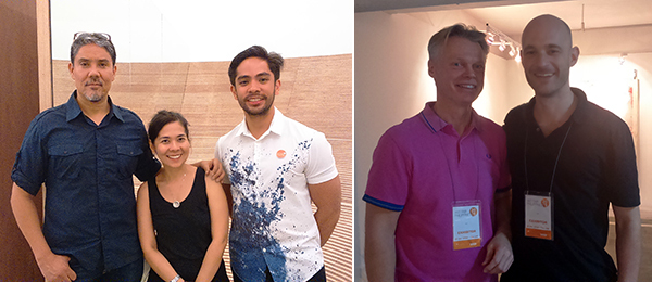 Left: Artist Paul Pfeiffer, curator Joselina Cruz, and collector Rocky David at MCAD. Right: Dealers Michael Janssen and Edouard Malingue.