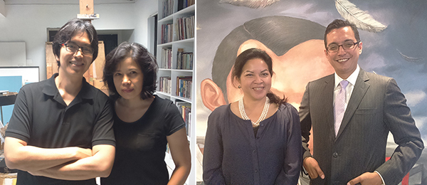 Left: Artists Mark Justiniani and Joy Mallari. Right: Ana Labrador, assistant director of the National Museum of the Philippines, and Jeremy Barnes, director of the National Museum of the Philippines.
