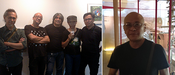 Left: The Children of Cathode Ray: Regiben Romana, Tad Ermitano, Jing Garcia, Magyar Tuason, and Peter Marquez. Right: Artist Gabriel Barredo in front of his installation Opera at Silverlens Manila.