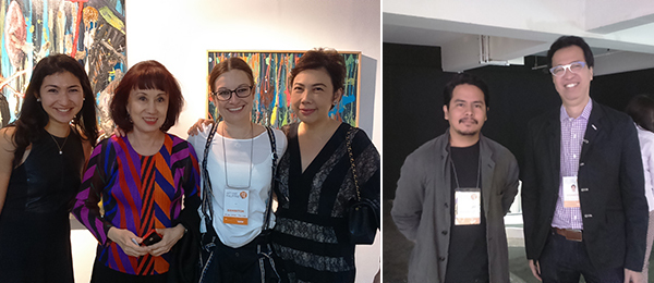 "Left: Art Basel VIP Relations Manager Asia Deborah Ehrlich, collector Melani Setiawan, dealer Birgit Zimmermann, and collector Lina Koswara. Right: Artist Derek Tumala and dealer Cesar ""Jun"" Villalon."