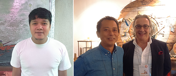 Left: Artist Jigger Cruz in his studio. Right: Artist Alwin Reamillo and collector-dealer Hugo Bunzl.