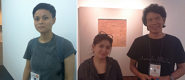 Left: Artist Maria Taniguchi. Right: Artists Annie Cabigting and Nilo Ilarde.