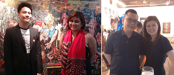Left: Artists Ronson Culibrina and Camille Quintos. Right: Bazaar Art Jakarta's fair director Leo Silitonga and Christie's Shuyin Yang at Finale Art File.