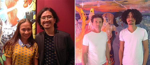 Left: Artists Marina Cruz and Rodel Tapaya. Right: Dealer Rudolf Kratochwil and artist Poklong Anading at 1335 Mabini.
